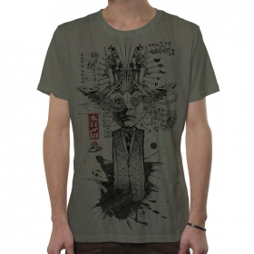 "T-shirt \""Mr Airplain\"", Vert vieilli"