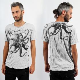 "T-shirt \""Octopus\"", Blanc"