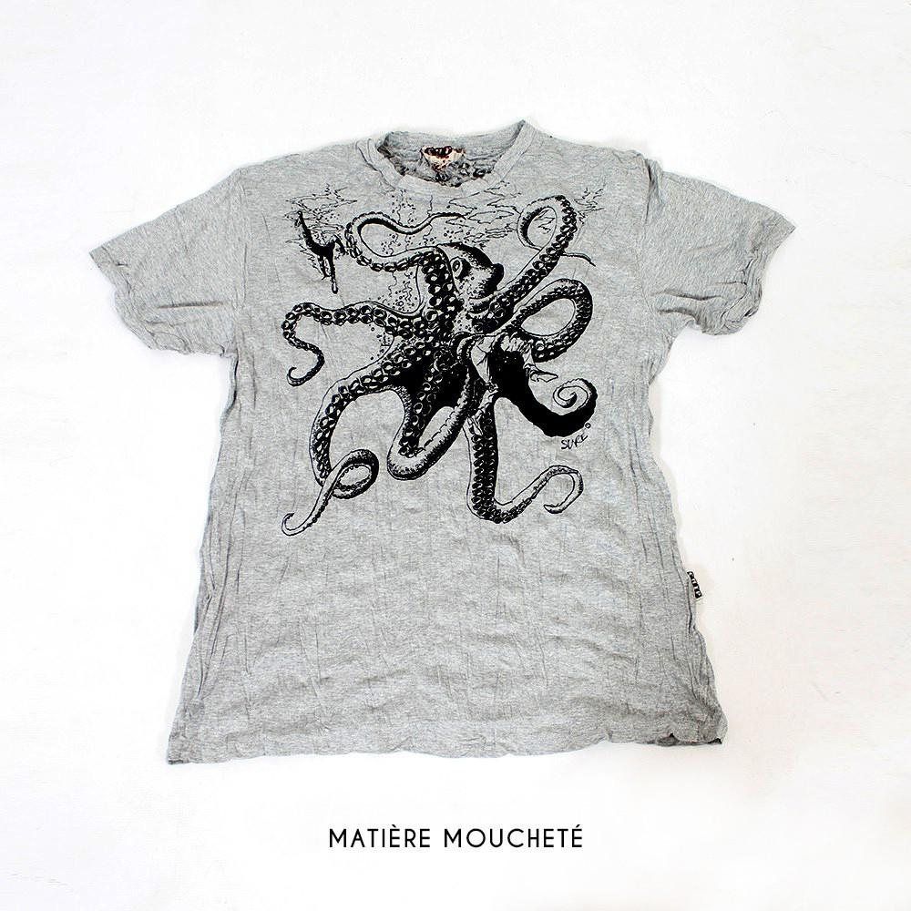 "T-shirt \""Octopus\"", Gris clair"