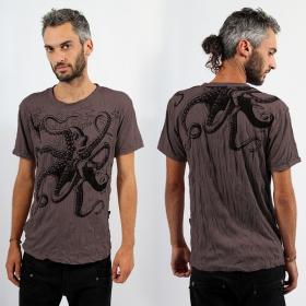 "T-shirt \\\""Octopus\\\"", Marron"