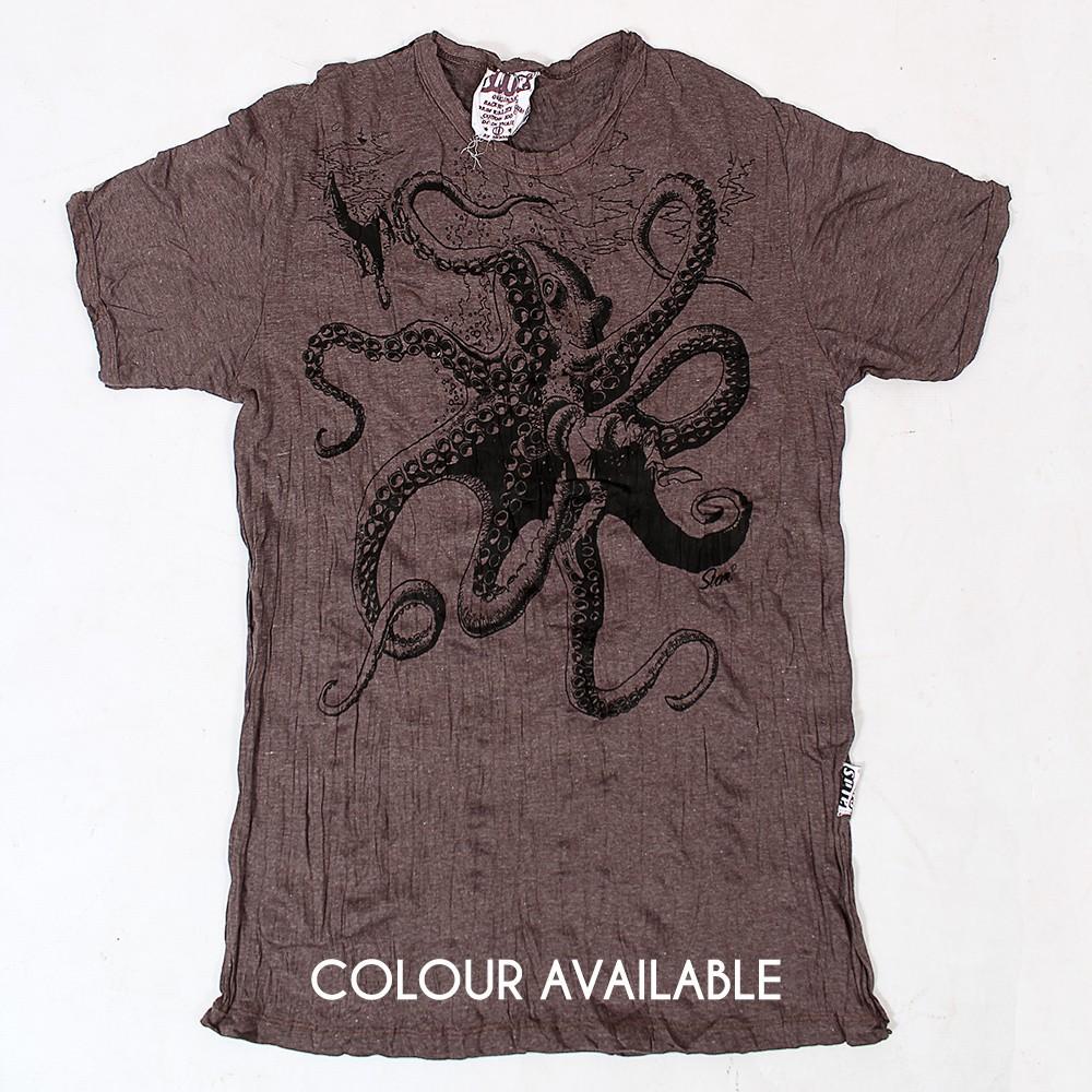 "T-shirt \""Octopus\"", Marron"