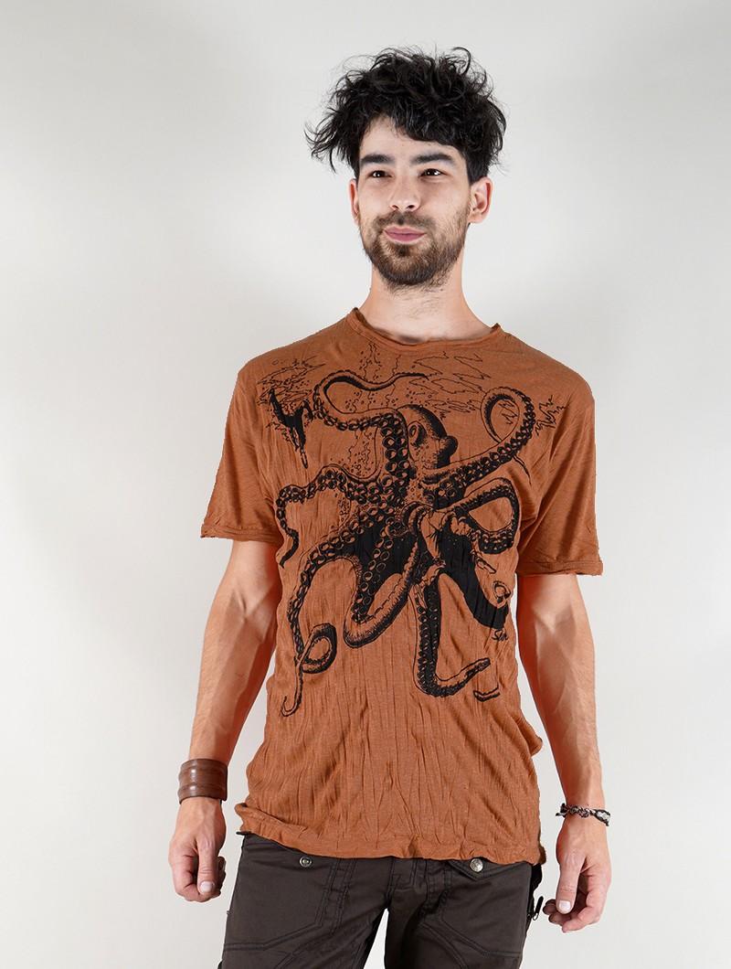 "T-shirt \""Octopus\"", Orange"