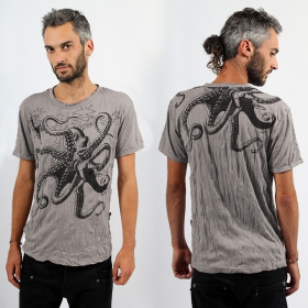 "T-shirt \""Octopus\\\"", Taupe"