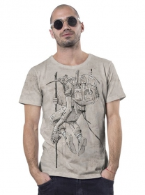 """T-shirt \""""On the way\"""", Beige chiné"""