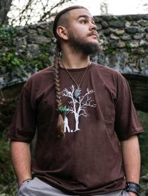"T-shirt \""Painting tree\"", Marron"