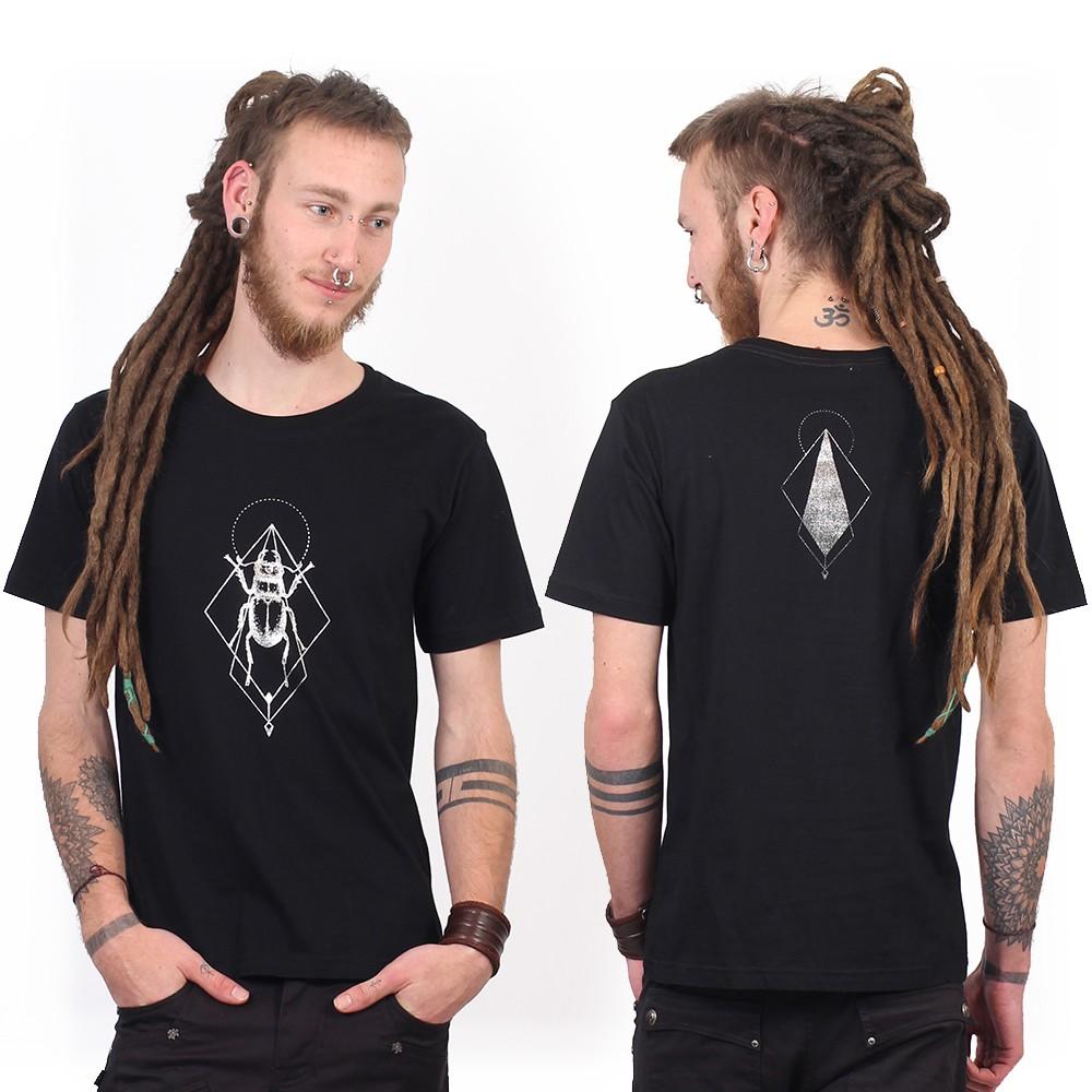 """T-shirt \""""Scarab spirit\"""", Noir et argent"""