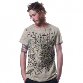 "T-shirt \""Shroombeard\"", Beige chiné"