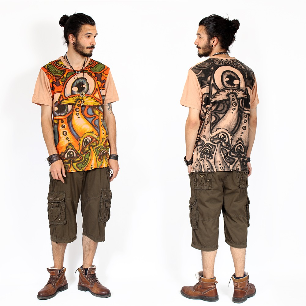 "T-shirt \""Shrooms\"", Marron"