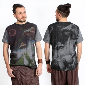 "T-shirt ""Shrooms in space\"", Gris foncé"