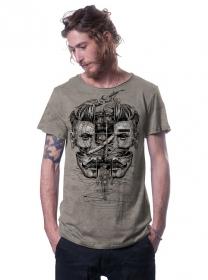 "T-shirt \""Sinoptik\"", Beige chiné"