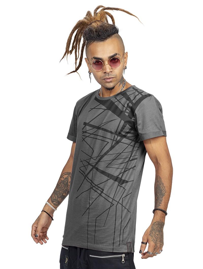 """T-shirt \""""Tierra Babylon\"""", Gris charbon et noir"""