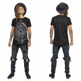"""T-shirt \""""Tierra Globule\"""", Noir et argent"""
