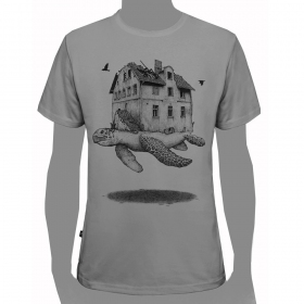 "T-shirt ""Turtle\"", Gris clair"