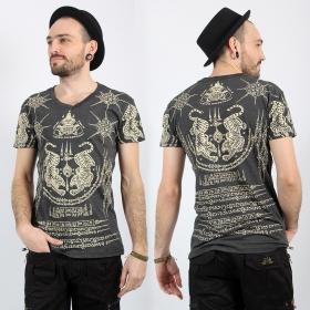 "T-shirt \""Twin Tiger\"", Gris foncé"