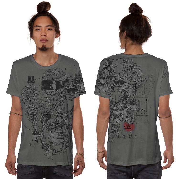"""T-shirt \""""VR\"""", Gris foncé"""