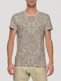 """T-shirt \""""Warrior\"""", Gris beige"""