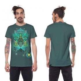 "T-shirt \""Yogi Traveller\"", Turquoise"