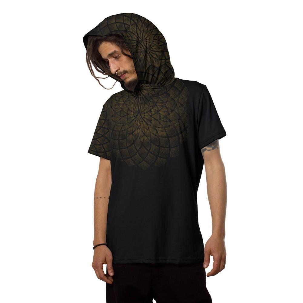 """T-shirt à capuche \""""Lotus\"""", Noir"""