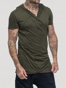 """T-shirt à capuche \""""Samouraï\"""", Vert kaki"""
