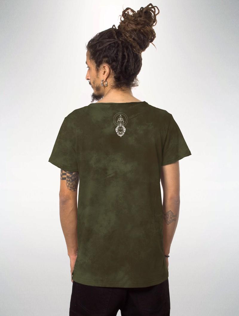 "T-shirt à manches courtes imprimé \""Edicaro\"", Vert kaki vielli effet tie dye"