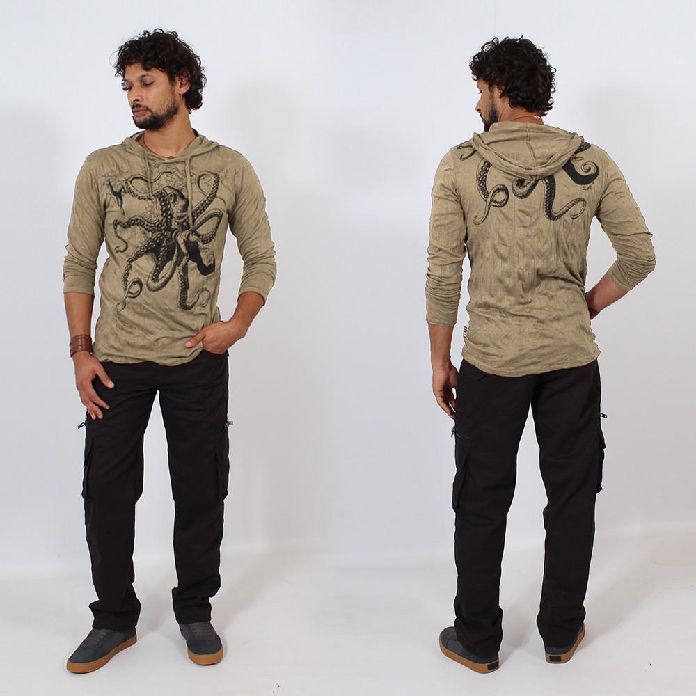 T-shirt capuche \\\'\\\'Octopus\\\'\\\', Marron clair