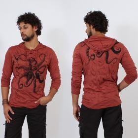 T-shirt capuche \\\'\\\'Octopus\\\'\\\', Rouge foncé
