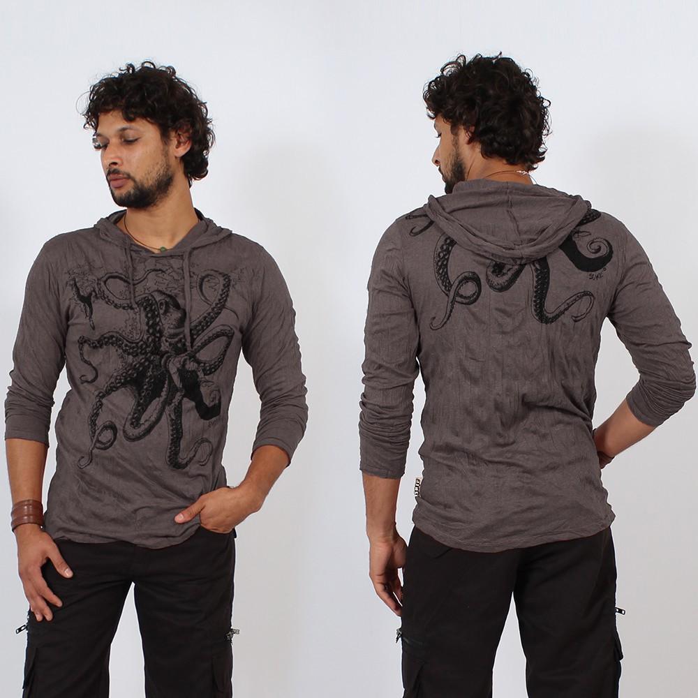 T-shirt capuche \\\'\\\'Octopus\\\'\\\', Violet foncé