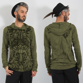 """T-shirt capuche \\\""""Bali Dragon\\\"""", Kaki"""