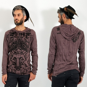 "T-shirt capuche \""Bali Dragon\\\"", Marron"