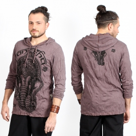 "T-shirt capuche ""Ganesh Face\"", Marron"