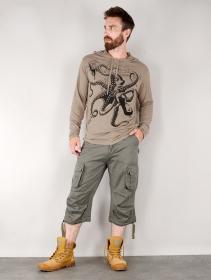 "T-shirt capuche \""Octopus\"", Marron clair"