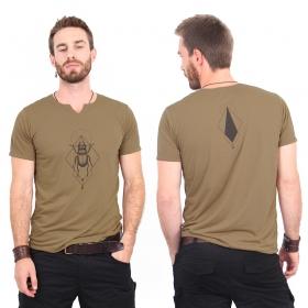 """T-shirt col V \""""Scarab spirit\"""", Marron et noir"""