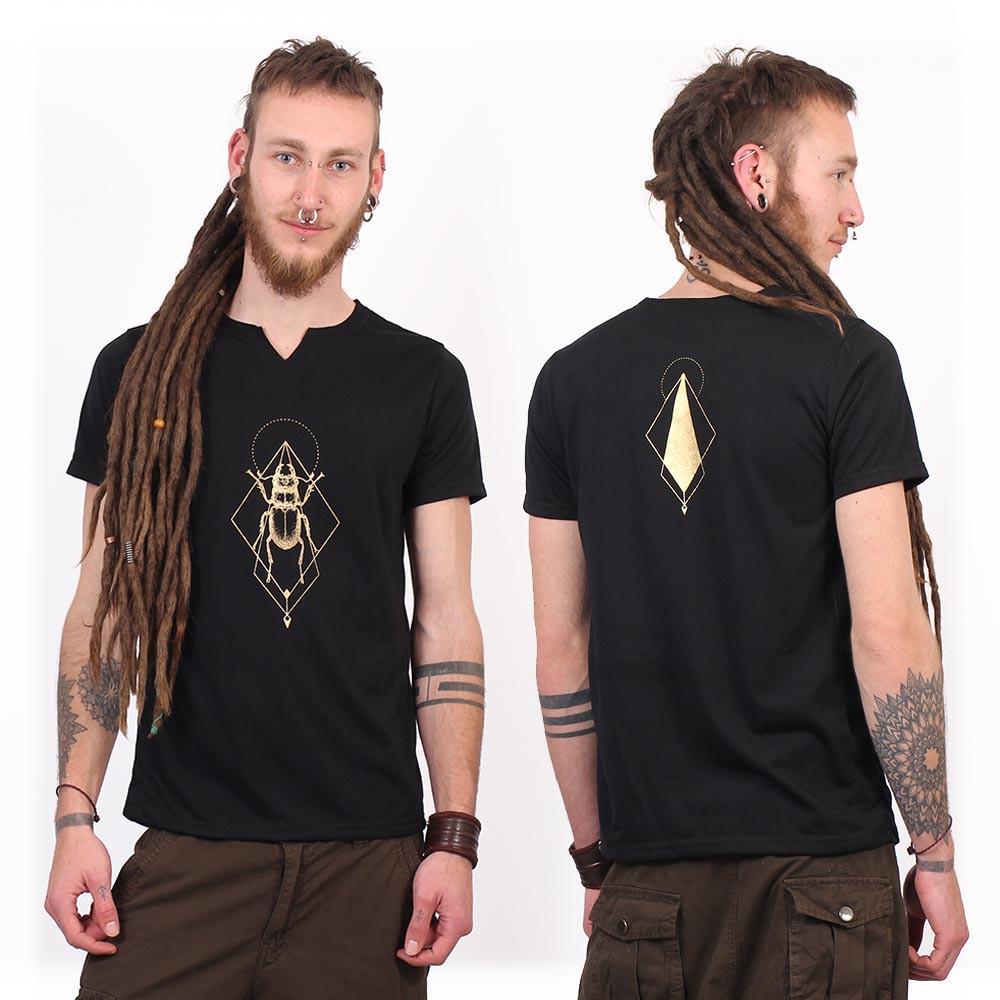 """T-shirt col V \""""Scarab spirit\"""", Noir et Or"""