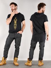 """T-shirt long à capuche unisexe \""""Singha\"""", Noir"""