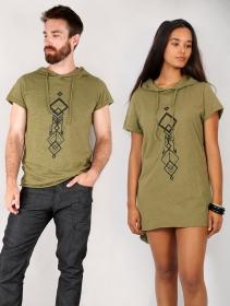 "T-shirt long à capuche unisexe \""Singha\"", Vert kaki et noir"