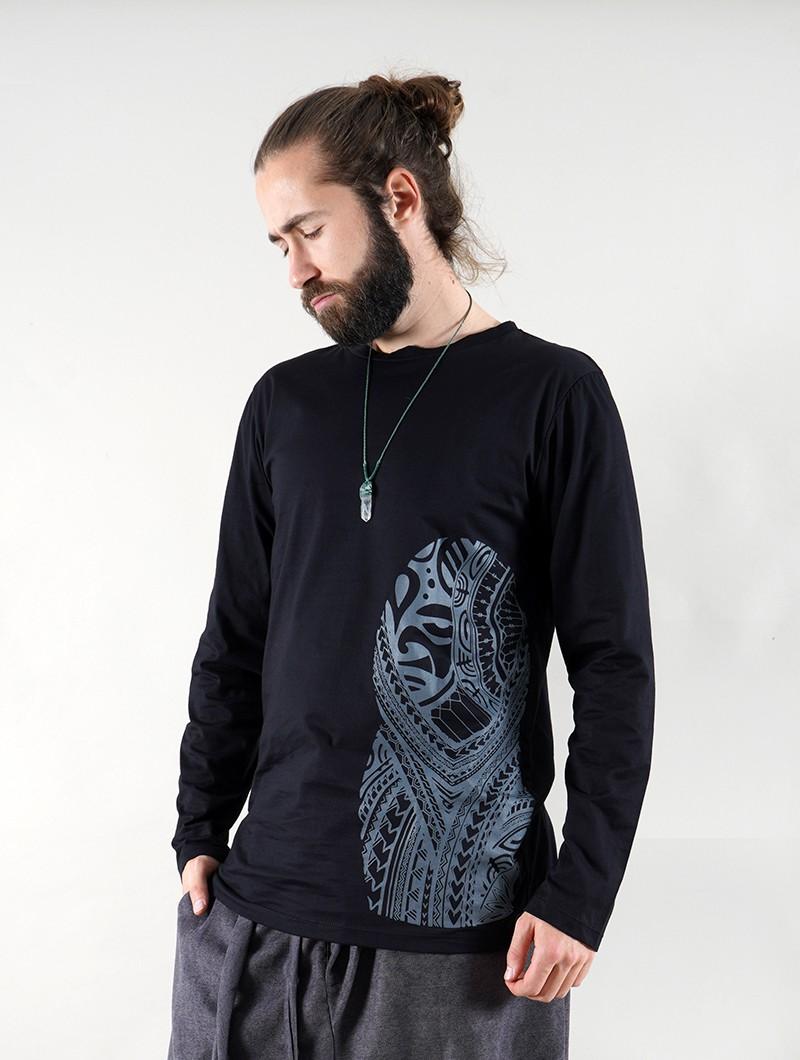 """T-shirt manche longue \""""Dogon Bumi Maori\"""", Noir"""