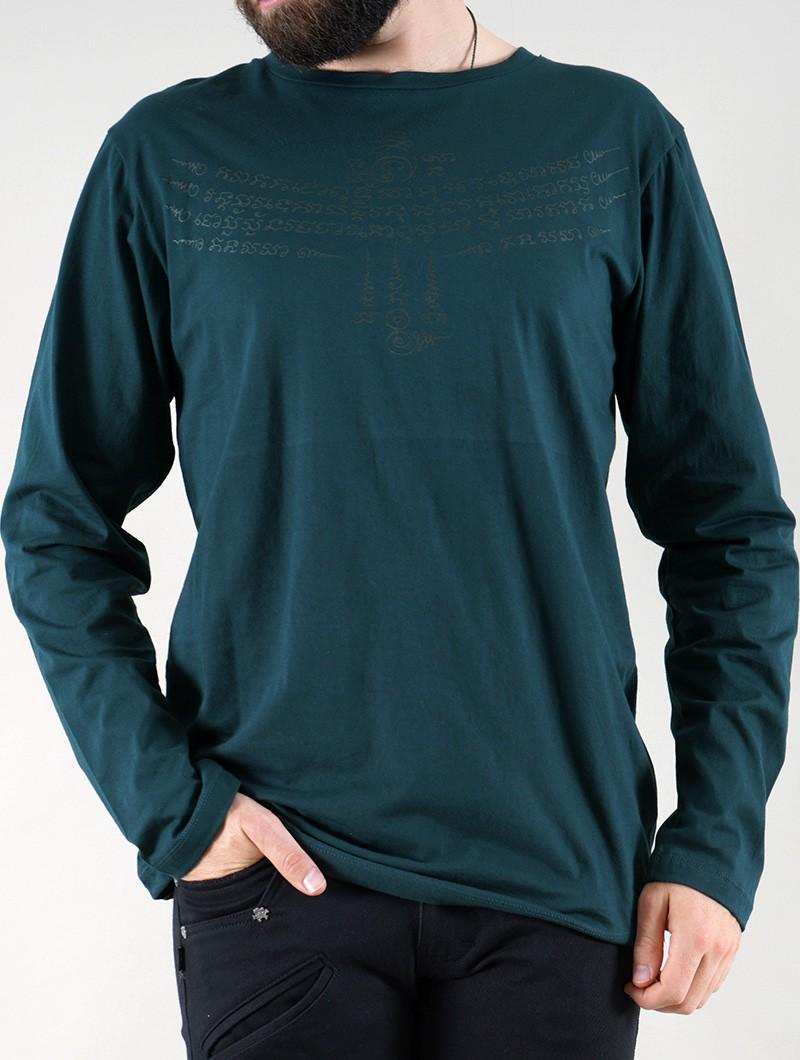 "T-shirt manche longue \""Manora Bumi\"", Bleu pétrole"