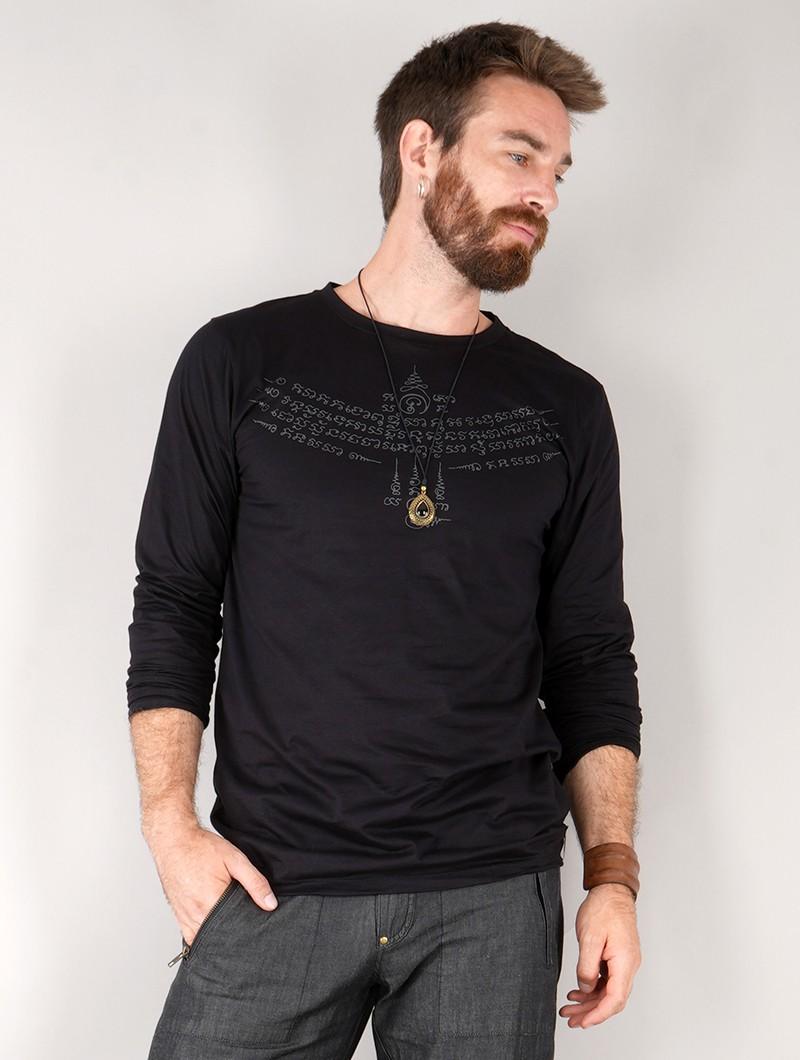 "T-shirt manche longue \""Manora Bumi\"", Noir"