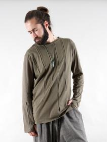 "T-shirt manche longue \""Ra\"", Vert kaki"
