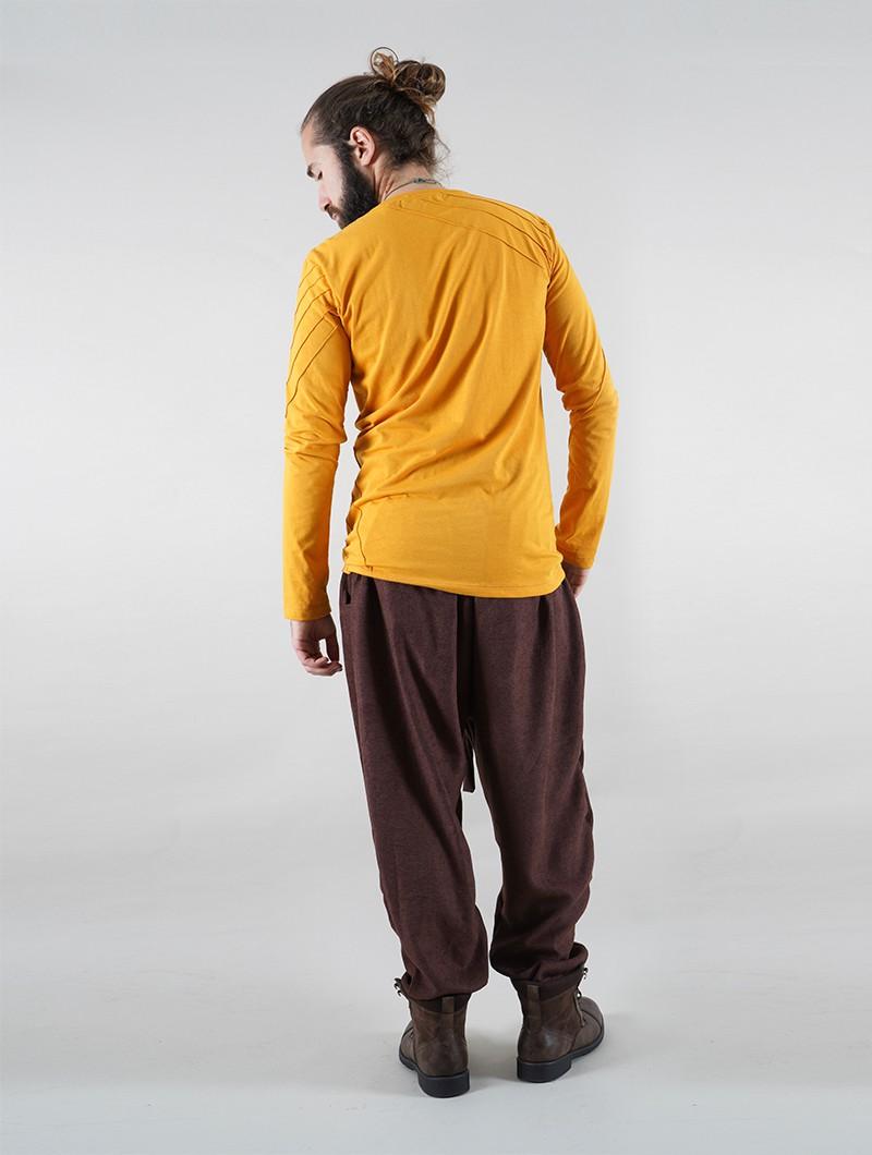 """T-shirt manche longue \""""Vulcan\"""", Moutarde"""