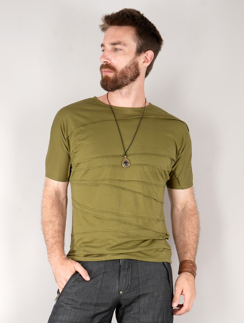 """T-shirt manches courtes \""""Pharaoh\"""", Vert kaki"""