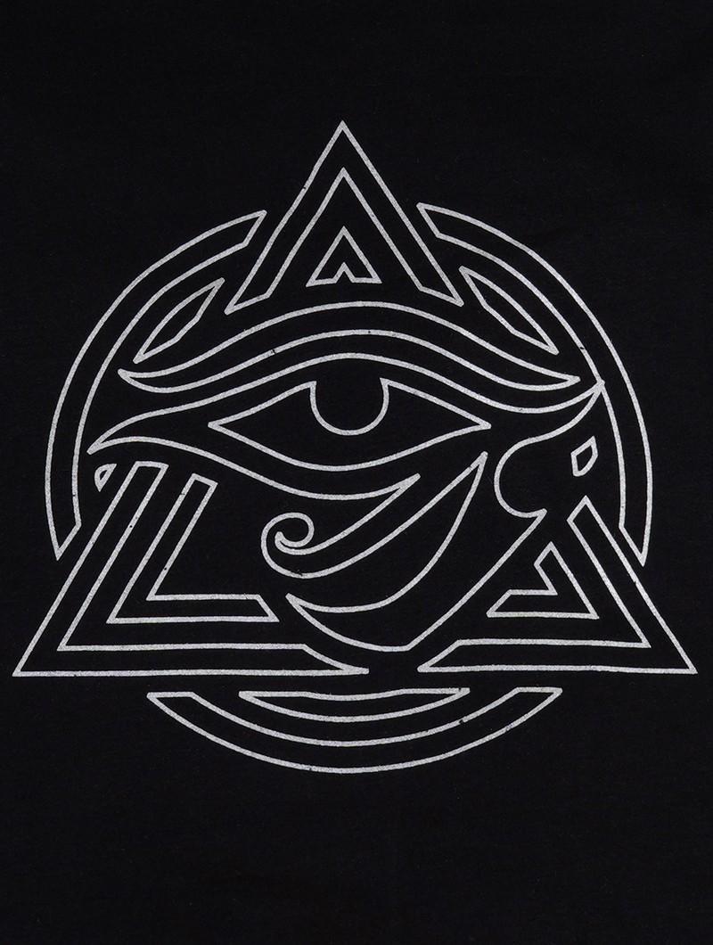 """T-shirt manches courtes \""""Tierra Wisdom\"""", Noir imprimé gris métalique"""