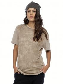 "T-shirt manches courtes unisexe \""Volcanic\"", Gris beige"