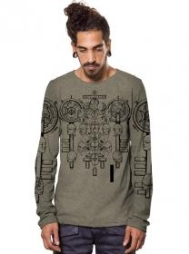 """T-shirt manches longues \""""Alchemist\"""", Beige chiné"""