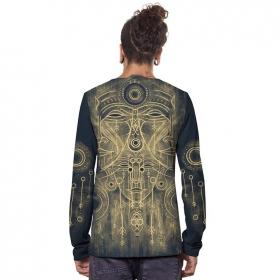 """T-shirt manches longues \""""Buddha\"""", Bleu foncé"""