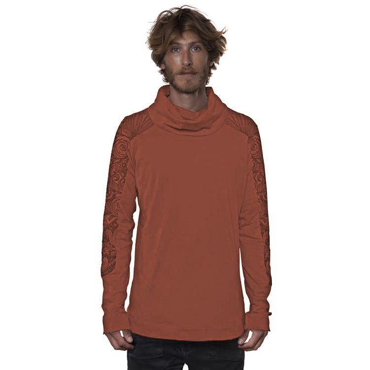"""T-shirt manches longues \""""Floral Mach\"""", Brique"""