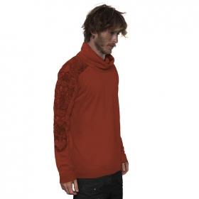 """T-shirt manches longues \""""Floral Mach\"""", Marron orangé"""