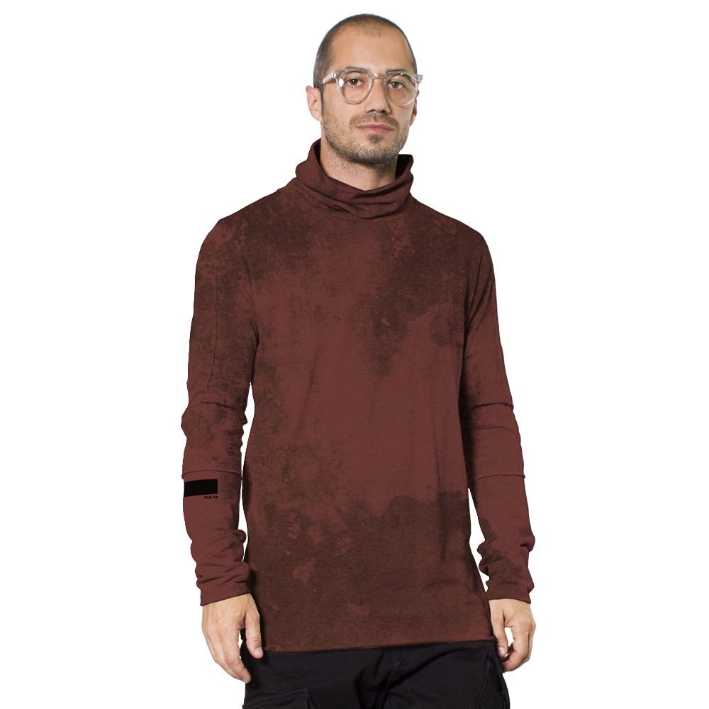 """T-shirt manches longues \""""One City\"""", Bordeaux vielli tie-dye"""