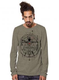 """T-shirt manches longues \""""Vitruvian\"""", Beige foncé"""