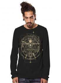 "T-shirt manches longues \""Vitruvian\"", Noir"